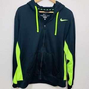EUC Nike Full Zip Hooded Sweater Volt Black L